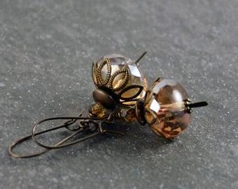 Bohemian Rustic Champagne Antique Brass Artisan Light Dangle Earrings
