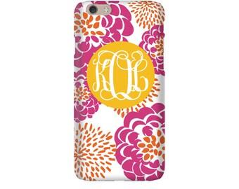 Monogram iPhone 7 Plus * 7 * 6/6S Plus * 6/6S * SE premium hibiscus peony phone case personalized with name or initials