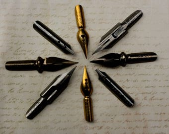 8 Pen Nibs Vintage 2 of each style Italian, Czech, British made by Lus, Hassag, Nepa, Perry & Co. and Penna Corona D'alloro