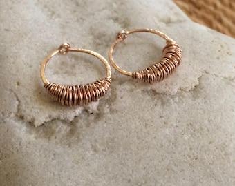 Small Rose Gold Sleeper Hoop Earrings Huggie Hoops 14k Rose Gold Fill Huggy Hoops Texture Hoops Wire Wrapped Jewelry Rustic Hoops