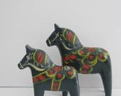 "2 Matching Blue Dala Horses - Large and Small 5.5"" and 4.25"" - No Label"