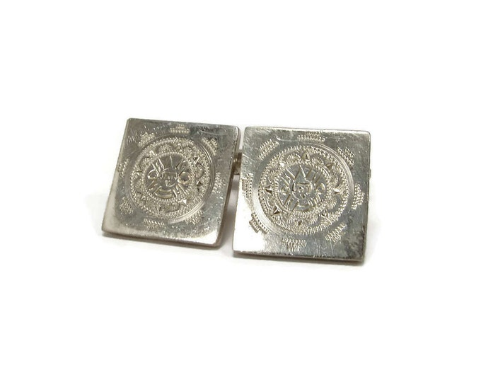 Vintage PROSA Sterling Sun Dial Cuff Links Taxco Mexico