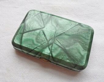 Vintage Cigarette Case Green Marble finish