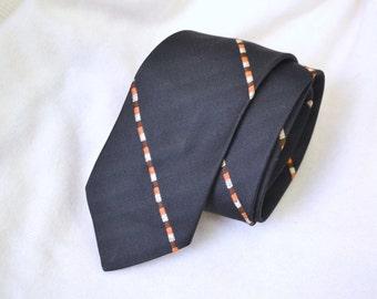 1950s Bronzini Black Silk Necktie