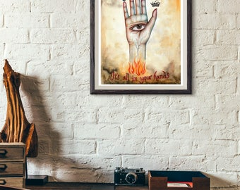 Giclee Art Print - Alchemy Hand - Hand Of Destiny - Psychic Reader Sign - 9x12 - Tree Talker Art