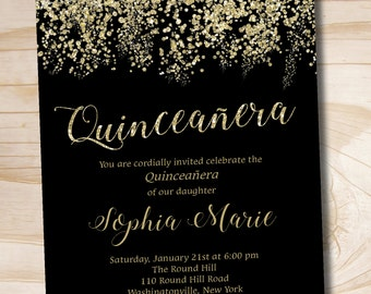 Gold Glitter Quinceanera Quince Sweet 16 Birthday  invitation - Printable Digital file or Printed Invitations