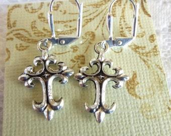 Fleur de Lis Cross Earrings Tibetan Silver Cross Earrings