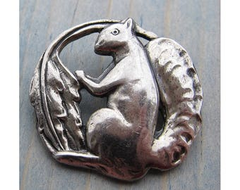 Sterling Craft by Coro Silver Squirrel Brooch Pin 1940s