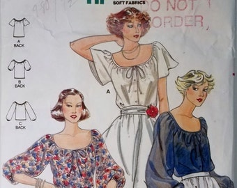 Vintage 1980 Butterick 5885 Women's With Draw String Neckline Size 16 Sewing Pattern