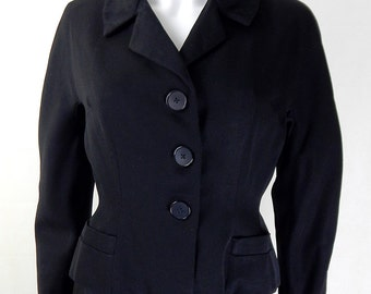 1970s Vintage Black Wool Blazer/Jacket UK Size 10/12
