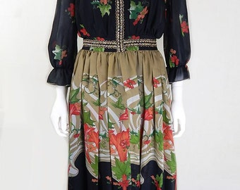 Original Vintage 1970s Eastex Floral Maxi Dress UK Size 10/12