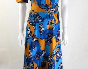 Original 1970s Vintage Bold Bright Patterned Maxi Dress UK Size 14