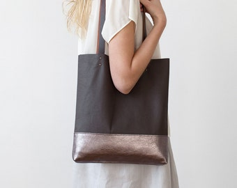 Brown with metallic Leather Tote bag