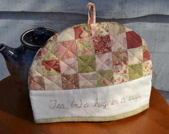 Cotton Floral Quilted Tea Cosy, Country Tea Cozy, Tan Green Kitchen, Tea Party Decor