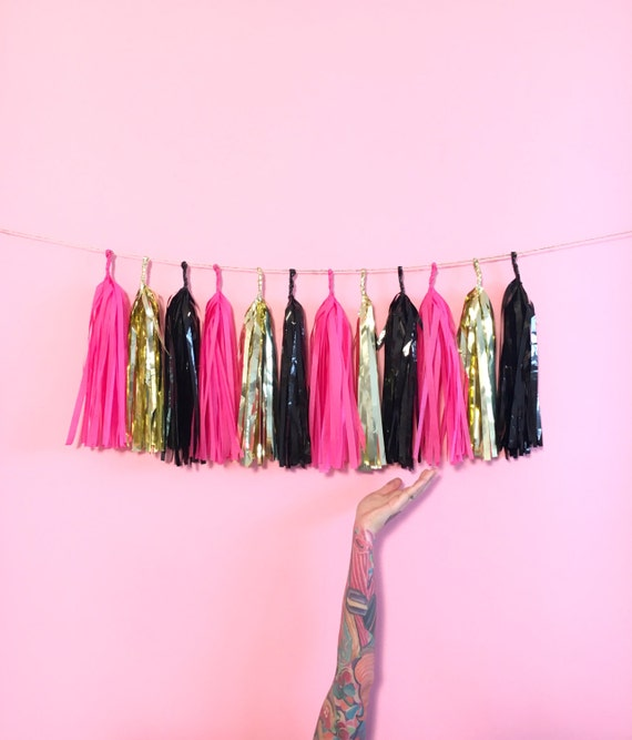 Bachelorette Party Tassel Garland Hot pink Gold and Black