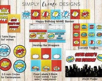 SALE Superhero Party Package Printable DIGITAL Party