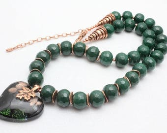 Emerald Green Agate and Copper Necklace with Heart, Murano Heart, Green and Copper, Bead Necklace, Adjustable Length, Gift for Mother
