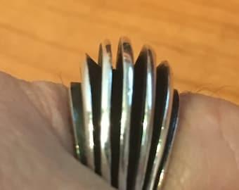 MODERNIST STERLING SILVER  Denmark 5.6 grams Ring Size 7.5 Large Solid