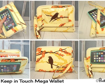 Crossbody Phone Purse • Custom Organizer Wallet • iPhone 7 Plus Wallet • bird aviary • orange floral • Keep in Touch MEGA Wallet • 3b
