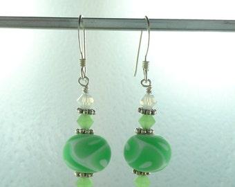 SALE: Swirl Glass GREEN & WHITE Matte Lampwork Swarovski Crystal w/ Sterling Silver Earrings