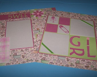Premade 12 x 12 scrapbook pages. Sweet girl. Baby girl. First year album, baby's first year. Baby book, handmade scrapbook. 12 x 12 page.