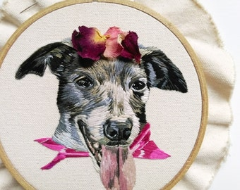 "ON SALE Custom Dog Portrait. Hand Embroidered Pet Portrait. 5"" Embroidery Hoop. Hand Stitched Pet Dog Picture. Custom Pet Portrait Embroider"