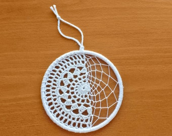 Dream Catcher Starter Ring with Web and Crochet Doily, 4 inch Dreamcatcher Ring Hoop, Decorate Your Own Dream Catcher