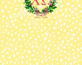 Chi Omega Chi-O Sorority Owl Scull Yellow Red Notepad