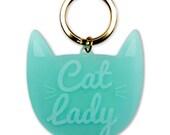 Cat Lady Keychain. Small Gift. Stocking Stuffer. Cat Lady Gift.