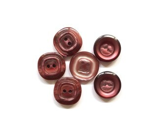 6 Assorted Burgundy Buttons, Plum, French Buttons, Vintage
