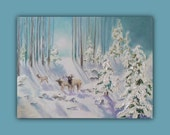 Oil Painting HUSHED MOMENT, Original Oil Painting, landscape, winter, snow, trees, elk, deer, signed by the artist, DanaC