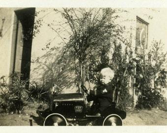 "Vintage Photo ""Brave Little Fire Chief"" Snapshot Antique Photo Old Black & White Photograph Found Paper Ephemera Vernacular - 71"