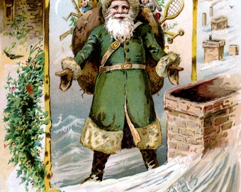 Santa Christmas Card - Santa Claus on Roof with Presents under Full Moon - Vintage Style