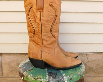 Vintage Cowgirl Boots Size 7, Leather Western Boots