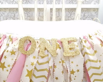 Twinkle Twinkle Little Star Birthday Banner - Girl's Birthday Party - Rag Banner - Photography Prop - First Birthday - Golden Birthday