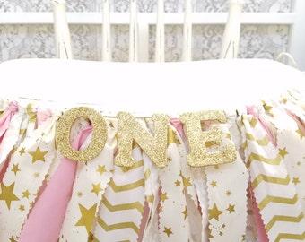 Twinkle Twinkle Little Star Birthday Banner - Girl's Birthday Party - Rag Banner - Photography Prop - First Birthday - Golden Birthday