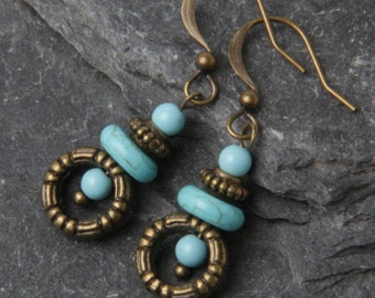 Blue Turquoise earrings, small turquoise earrings, dainty earrings, turquoise dangles, turquoise jewelry, gift for her, gift under 20