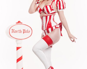 "23"" Red & White Striped pvc Long underbust w/ Front Zipper corset from Artifice Clothing (photoshoot sample)"