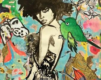 SALE / Micci Cohan Contemporary Original Mixed Media Painting on Paper / Figure / Fashion / Boho / Bird / Wall Decor / Art / Original