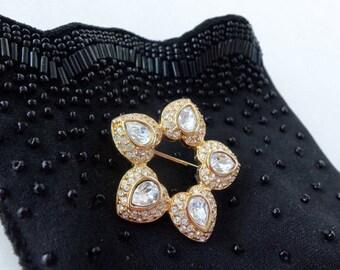 Vintage Brooch Pin Vintage Wedding Vintage Gold and Rhinestone Brooch Vintage Glamour Mother of the Bride Collectible  VIANNE