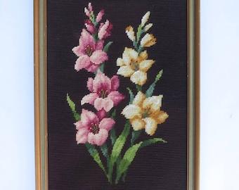 Vintage  Needlepoint Gladiolus Large Framed Floral Needlepoint Pink and Yellow Gladiola