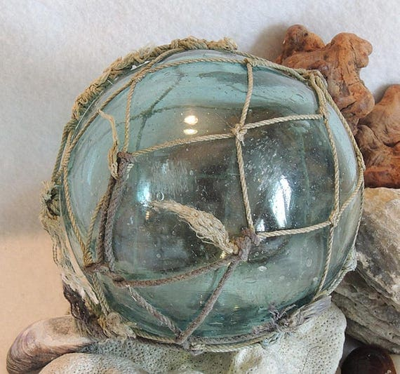 "Vintage 15.5"" In Circumference Japanese GLASS FISHING FLOAT Full Net & Bubbles (#19)"