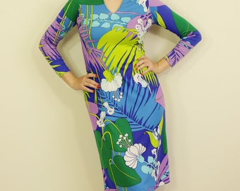 Rainbow Floral Psychedelic 60s Print Dress 3/4 Length Sleeves Fitted E
