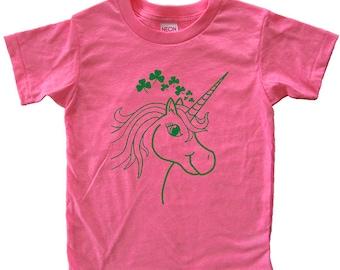 St Patricks Day Girls Shamrock Shirt - Unicorn Tee Shirt Top - 4 Leaf Clover Saint Patricks T Shirt Tee - Kids Tshirt 2T, 4T, 6, 8, 10, 12