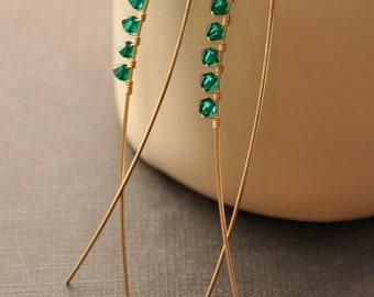 Emerald Green Earrings, Green Crystal Earrings, Green Crystal Jewelry, Gold Green Earrings, Birthstone Earrings