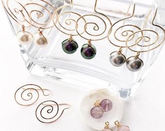 Pearl Drop Earrings, Gold Spiral Earrings, Interchangeable Earrings, Rose Gold Swirl Earrings, Silver Earrings, Spiral Wire Jewelry