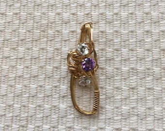 Lavender and Clear Crystal Stones Wire Wrapped With 14K