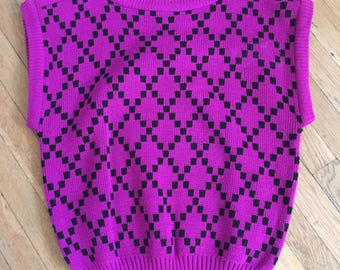 Violet 80's sweater/sweater vest/top/boatneck