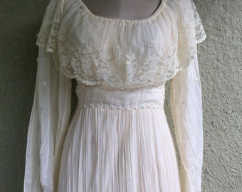 Cotton Gauze Dress - Three Tier Dress - Crinkled Dress with Lace Collar and Beads - Boho Chic