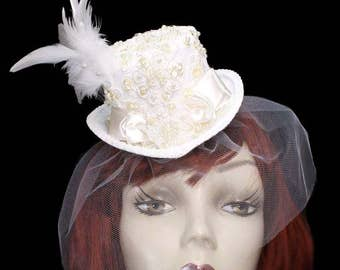 Ivory Elegance Mini Wedding Top Hat Fascinator Veiled Victorian Steampunk Bride Pearl